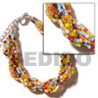 12 Rows Multicolored Twisted Glass Beads
