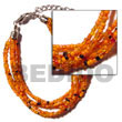 Natural 6 Rows Orange Multi Layered Glass Beads