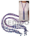 Scarf Necklace - 6 Rows Pink/purple Cut