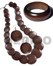 Natural stained brown wooden jewelry set
